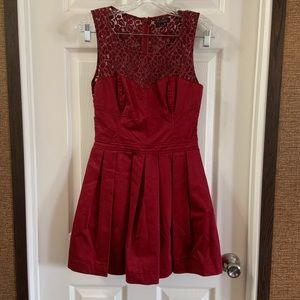 Talula Red Lace Back pleated Skirt Dress 4